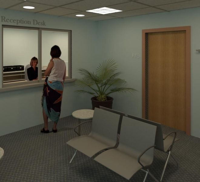 interior of a nice new reception area